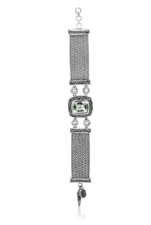 Lois Hill Granulation Cushion Square Station Bracelet with Green Quartz on Textile Weave Chain - Lois Hill Jewelry