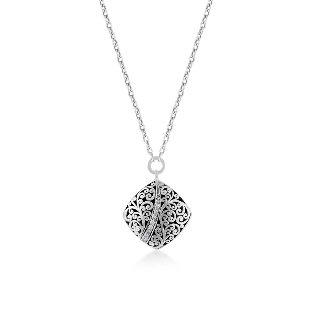 Classic Round Sterling Silver Scroll with Diamond Pendant Necklace - Lois Hill Jewelry