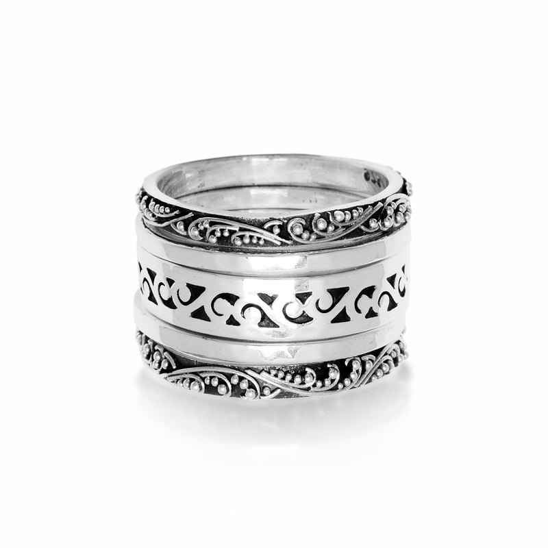 Classic Granulated with Hammered and Cutout 5-Stack Ring