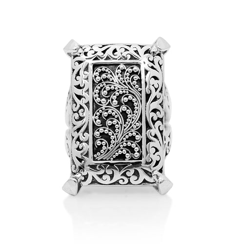 Cutout and Granulated Rectangular Ring - Lois Hill Jewelry