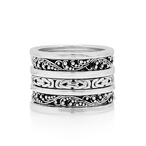 Classic Sterling Silver 7-Stack Ring