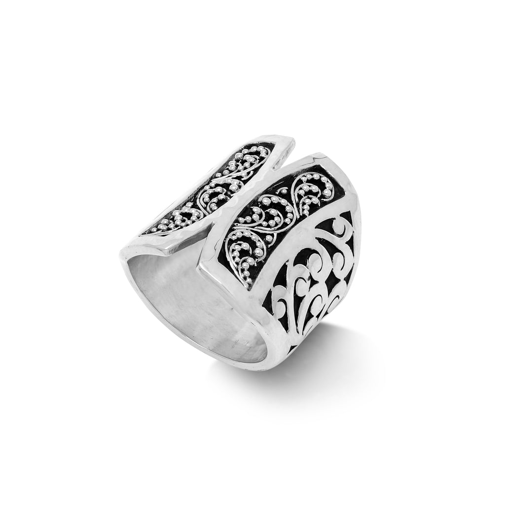 Butterfly Granulated and Signature Scroll Ring - Lois Hill Jewelry