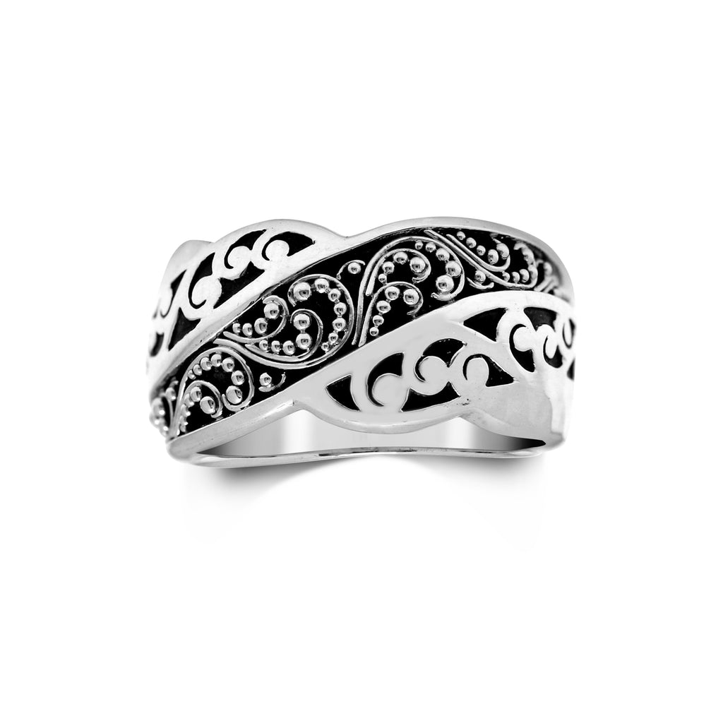 Signature Scroll and Granulated Sterling Silver Ring - Lois Hill Jewelry