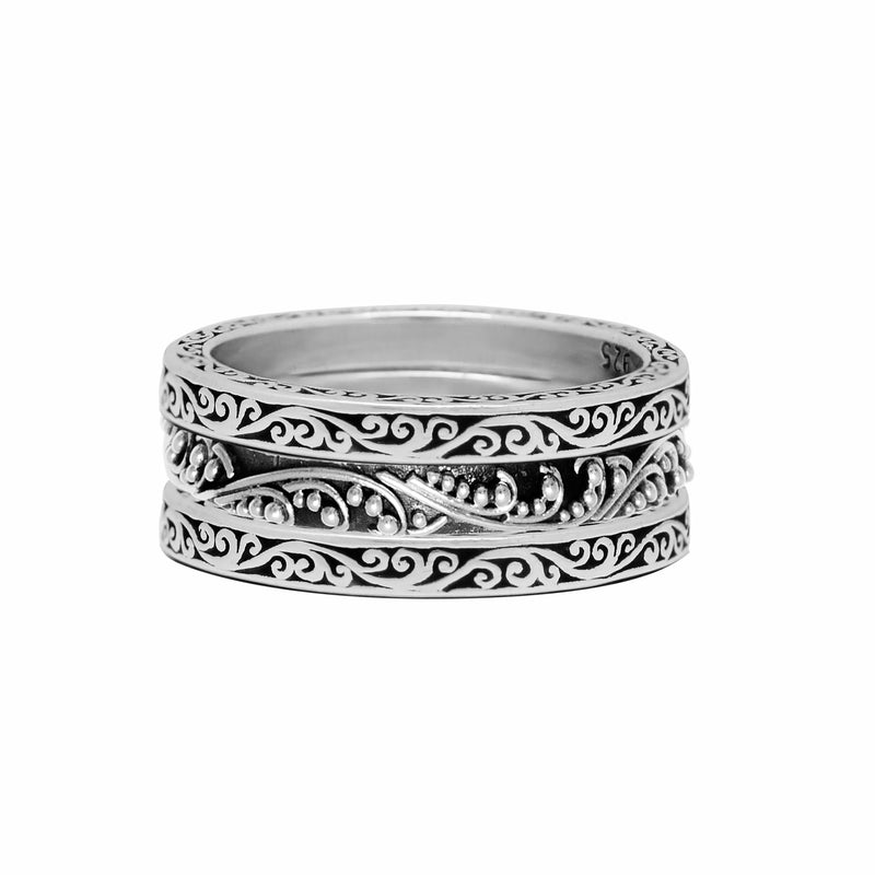 Classic Granulated and Signature Scroll 3-Stacked Ring