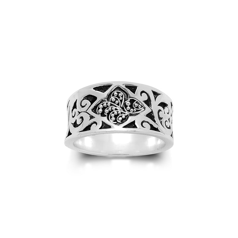 Classic Signature Scroll with Granulated Center Ring - Lois Hill Jewelry