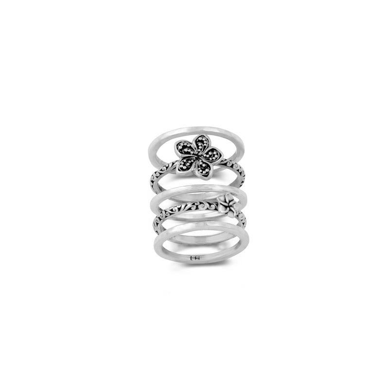 Hand Carved Scroll and Granlated Flower 5-Stack Ring