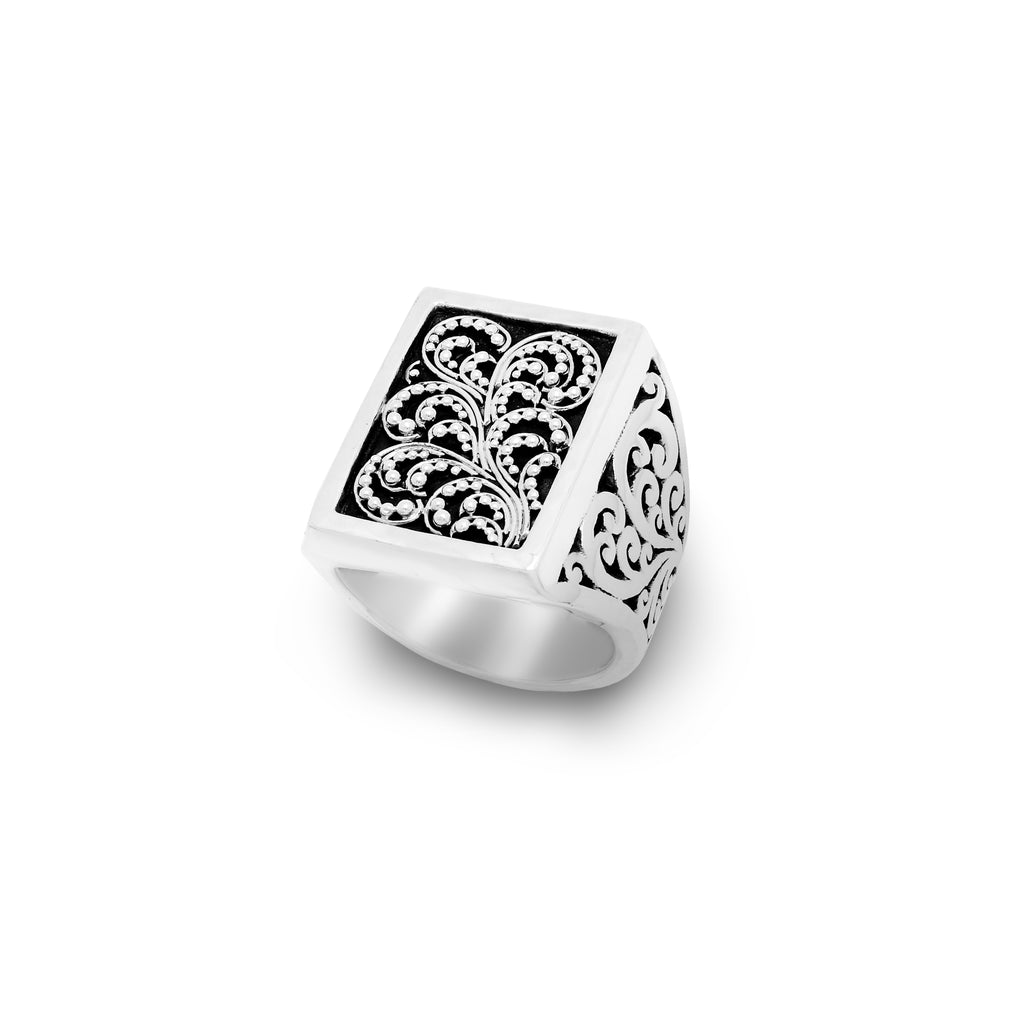 Rectangular Granulated with Signature Scroll Ring