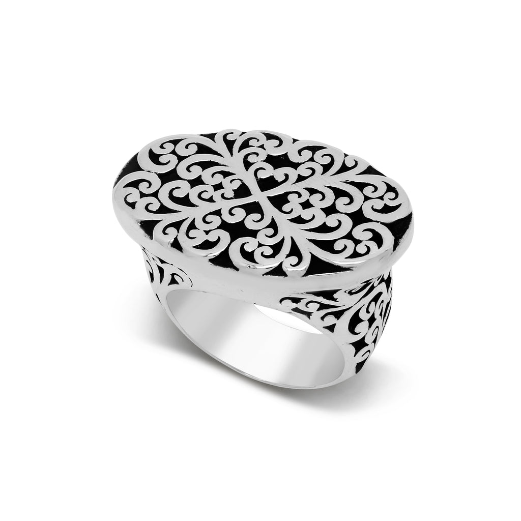 Oval Geometry Signature Scroll Ring - Lois Hill Jewelry