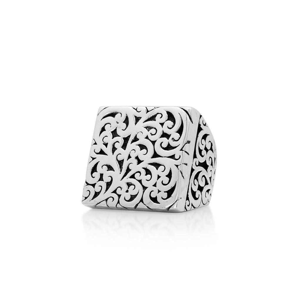 Cutout Scroll Square Ring - Lois Hill Jewelry