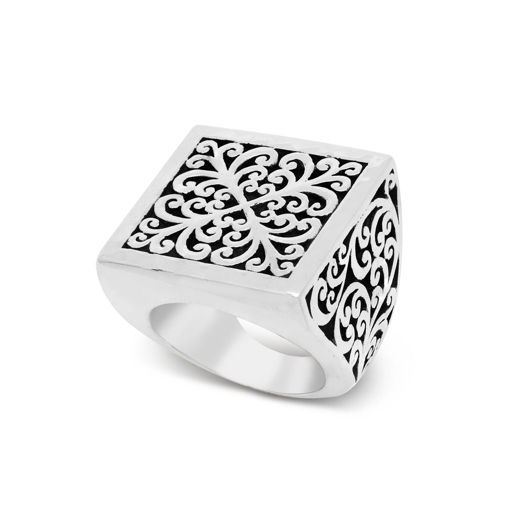 Square Geometry Signature Scroll Ring - Lois Hill Jewelry