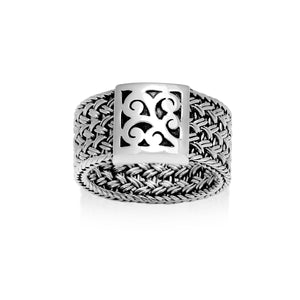 Classic Textile Weave Cutout Scroll Square Ring
