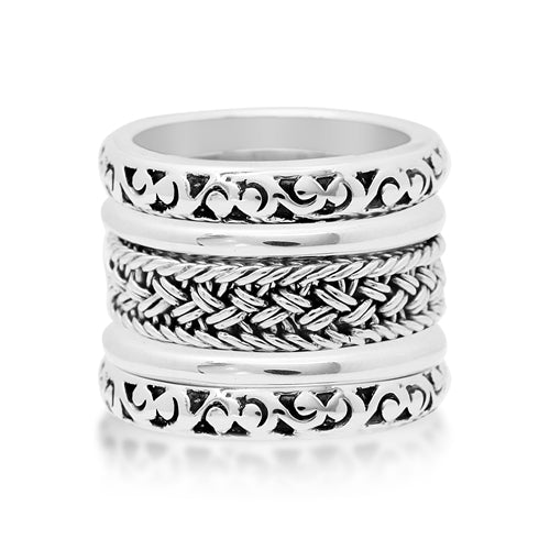 Textile Weave and Hand Carved Scroll 5 Stack Ring