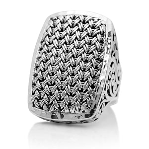 Rectangular Textile Weave Cut-Out Ring