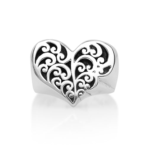 Cutout Scroll Heart Shaped Ring