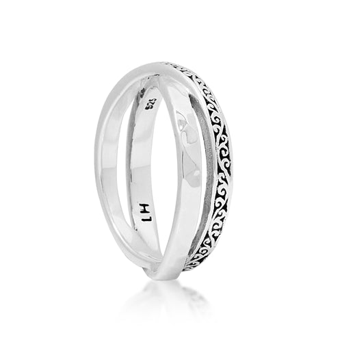 Signature Scroll & Hammered Cross Over Band - Lois Hill Jewelry