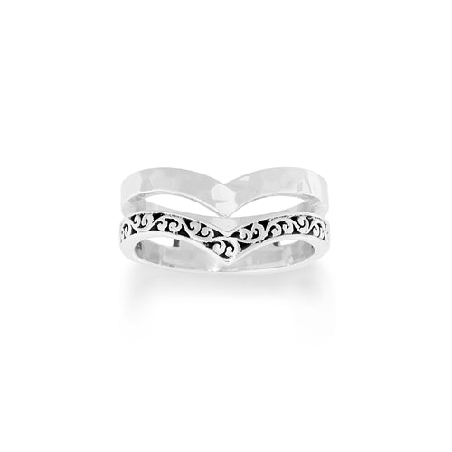 Chevron Cutout Double Ring - Lois Hill Jewelry