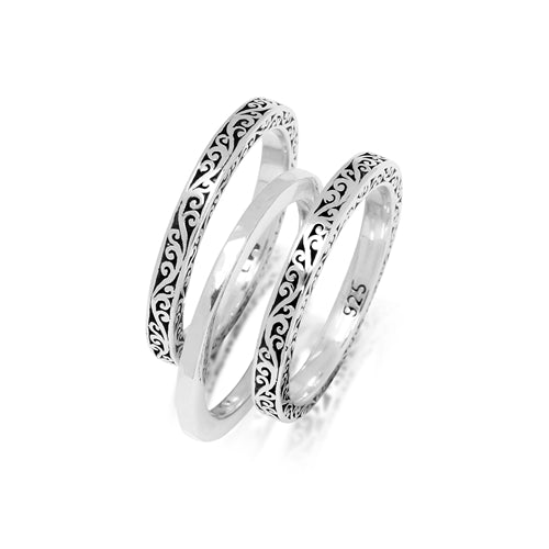 Cutout & Hammered 3 Stack Ring - Lois Hill Jewelry
