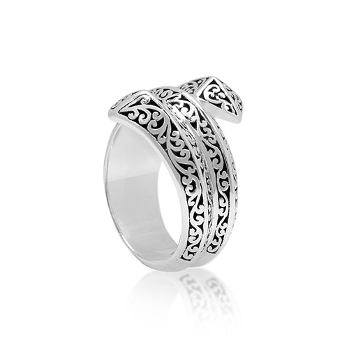 Edgy Signature Scroll Wrap Around Ring - Lois Hill Jewelry