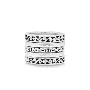 Box Weave and Hand Carved Scroll 5 Stack Ring - Lois Hill Jewelry