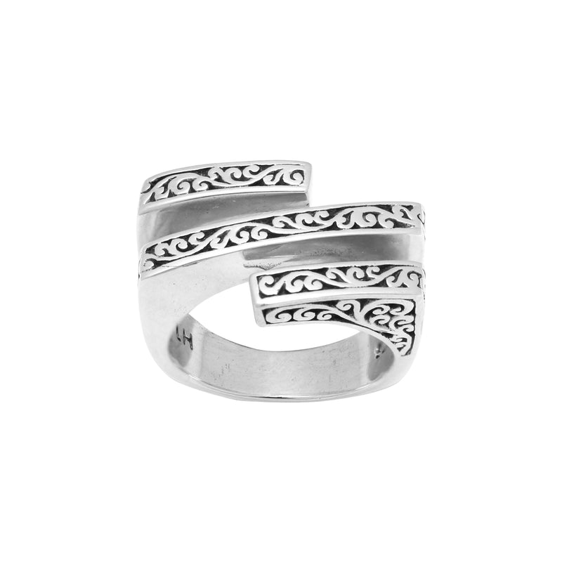 Classic Signature Scroll Overlap Bar Ring - Lois Hill Jewelry