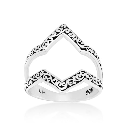 Handcrafted Open Scroll Alhambra Ring
