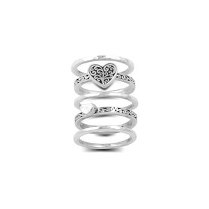 Hand Carved Scroll with Heart-Shaped 5-Stack Ring