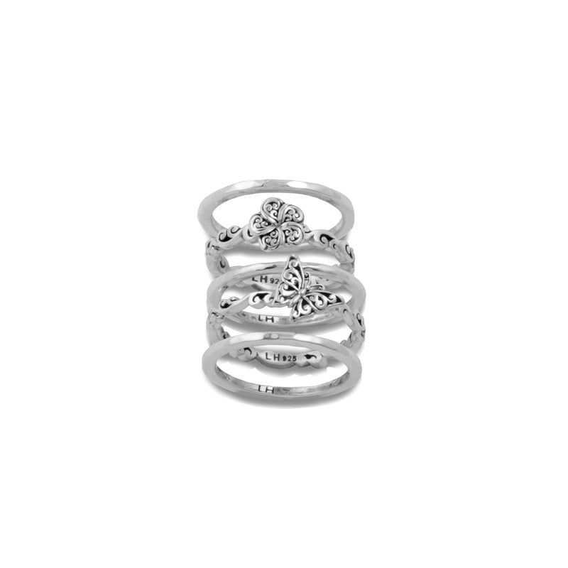 Open Hand Carved Scroll Flower 5-Stack Ring