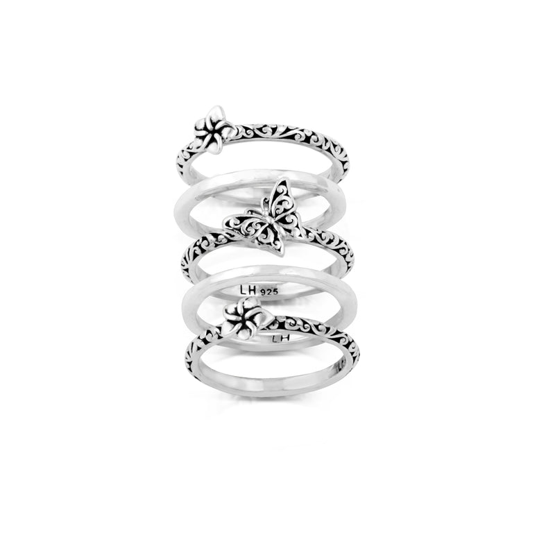 Hand Carved Scroll Butterfly and Light Floral 5-Stack Ring