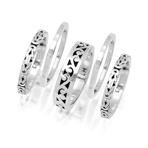 Cutout and Box Weave 5 Stack Ring - Lois Hill Jewelry
