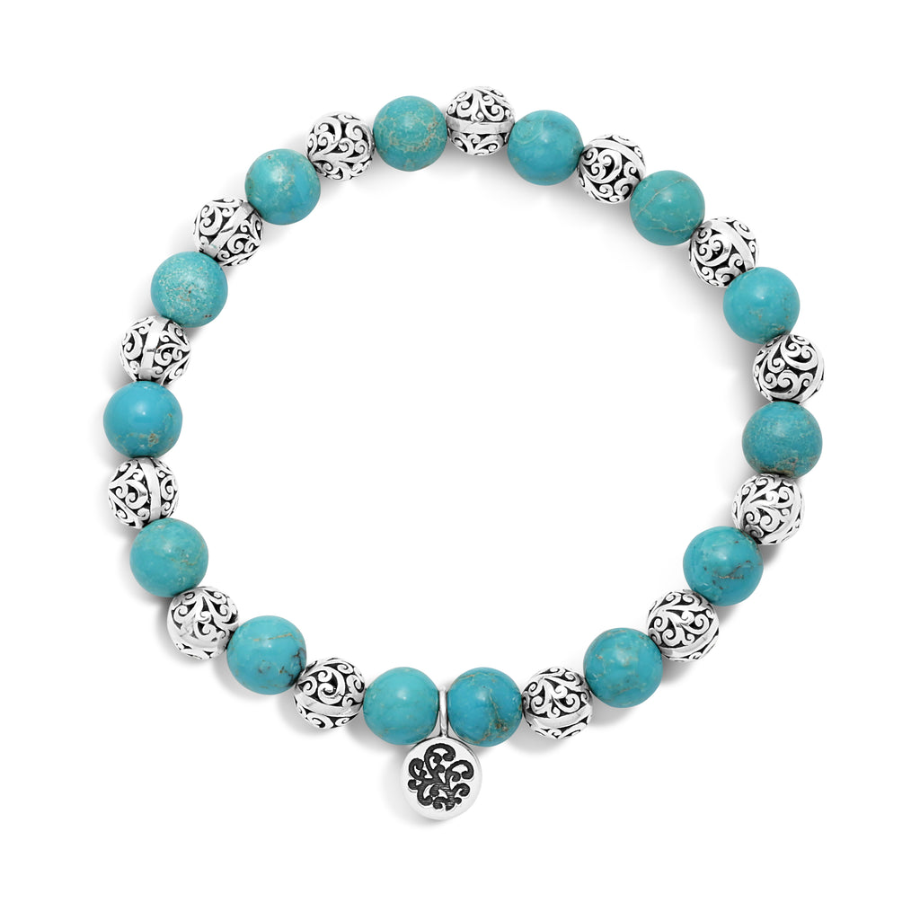 Bright Blue Turquoise Bead (7mm) with Scroll Sterling Silver Bead Stretch Bracelet - Lois Hill Jewelry