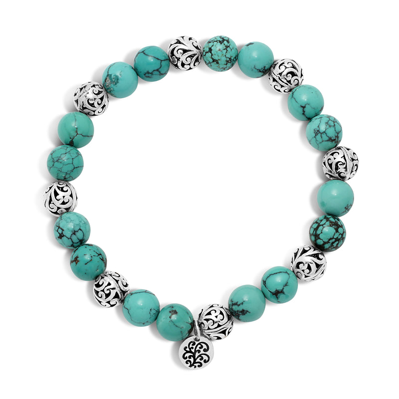 Blue Black Turquoise Bead (8mm) with Scroll Sterling Silver Bead Stretch Bracelet - Lois Hill Jewelry