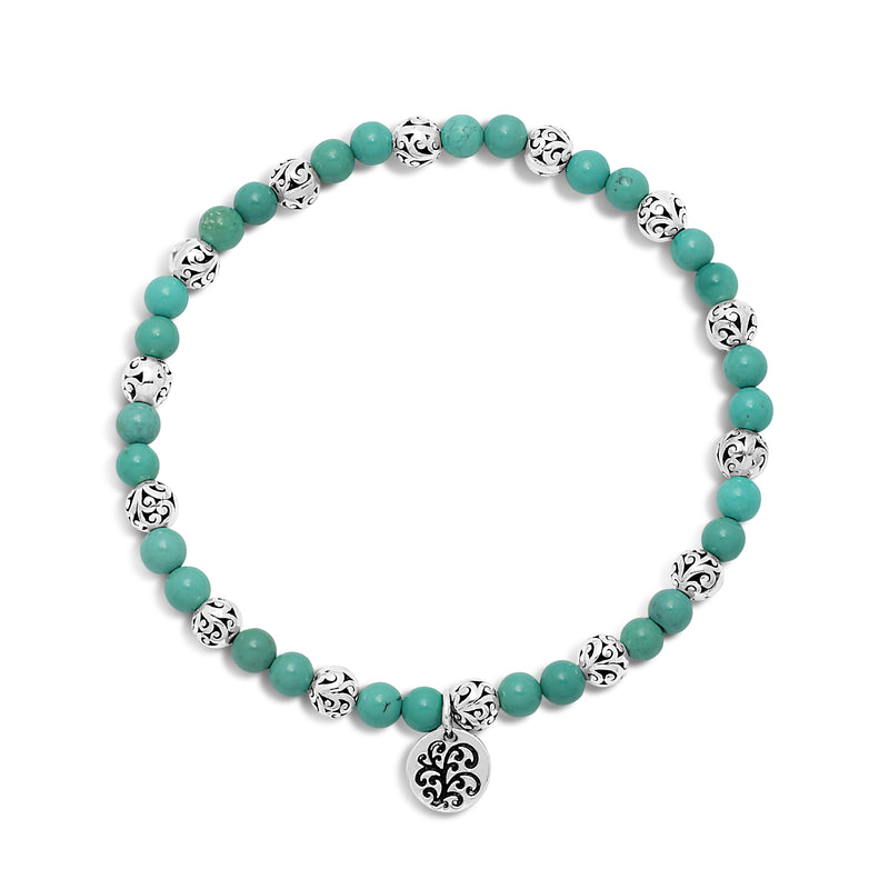 Blue Green Turquoise Bead (4mm) with Scroll Sterling Silver Bead Stretch Bracelet - Lois Hill Jewelry