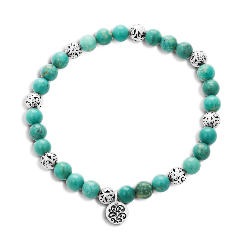 Blue Green Turquoise Bead (6mm) with Scroll Sterling Silver Bead Stretch Bracelet - Lois Hill Jewelry