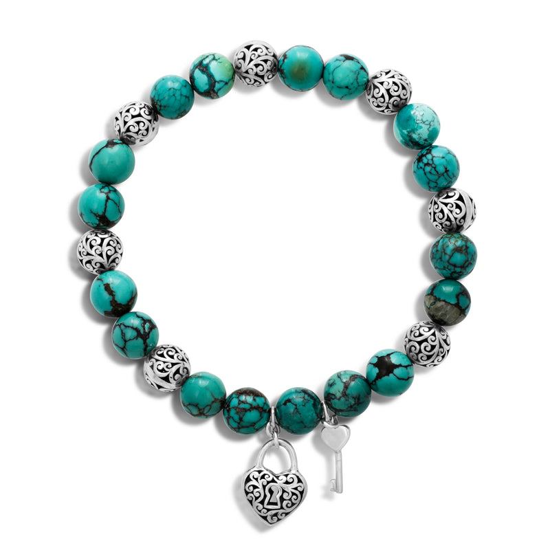 Blue Black Turquoise Bead (8mm) and Scroll Sterling Silver Bead with Signature Scroll Heart-Lock Key Hang Stretch Bracelet - Lois Hill Jewelry