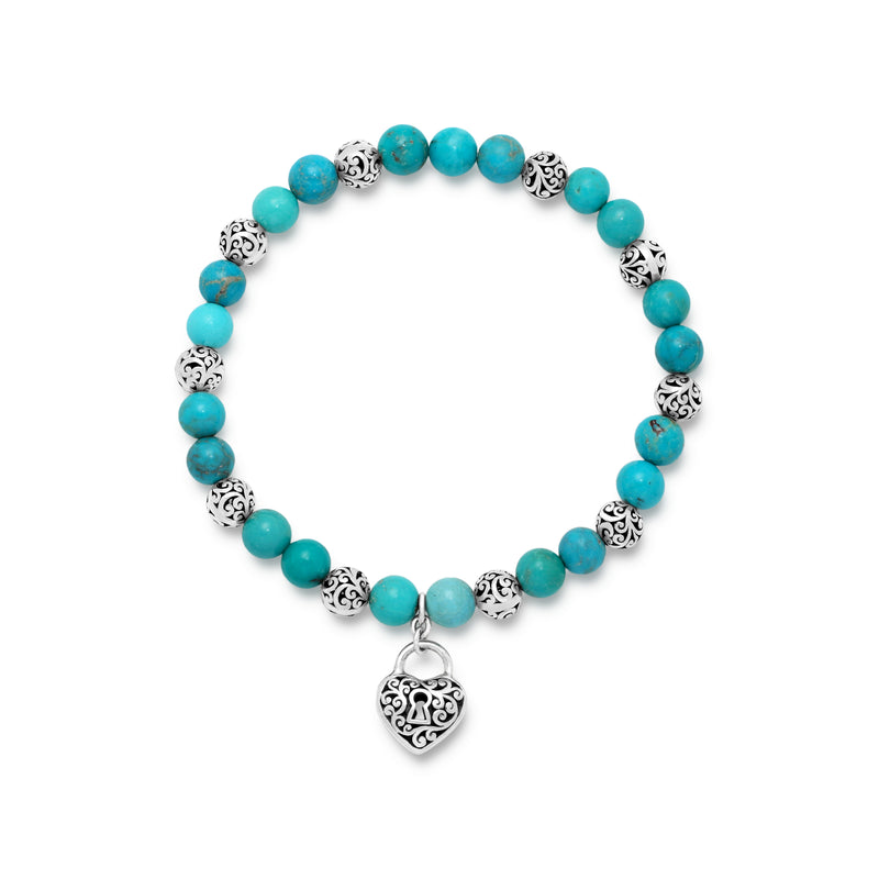 Blue Turquoise Bead (6mm) and Scroll Sterling Silver Bead with Signature Scroll Heart-Padlock Hang on Stretch Bracelet - Lois Hill Jewelry