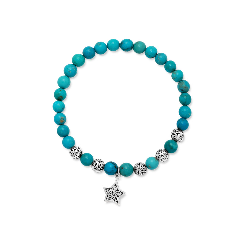 Blue Turquoise Bead (6mm) and Scroll Sterling Silver Bead with Signature Scroll Star Hang on Stretch Bracelet - Lois Hill Jewelry