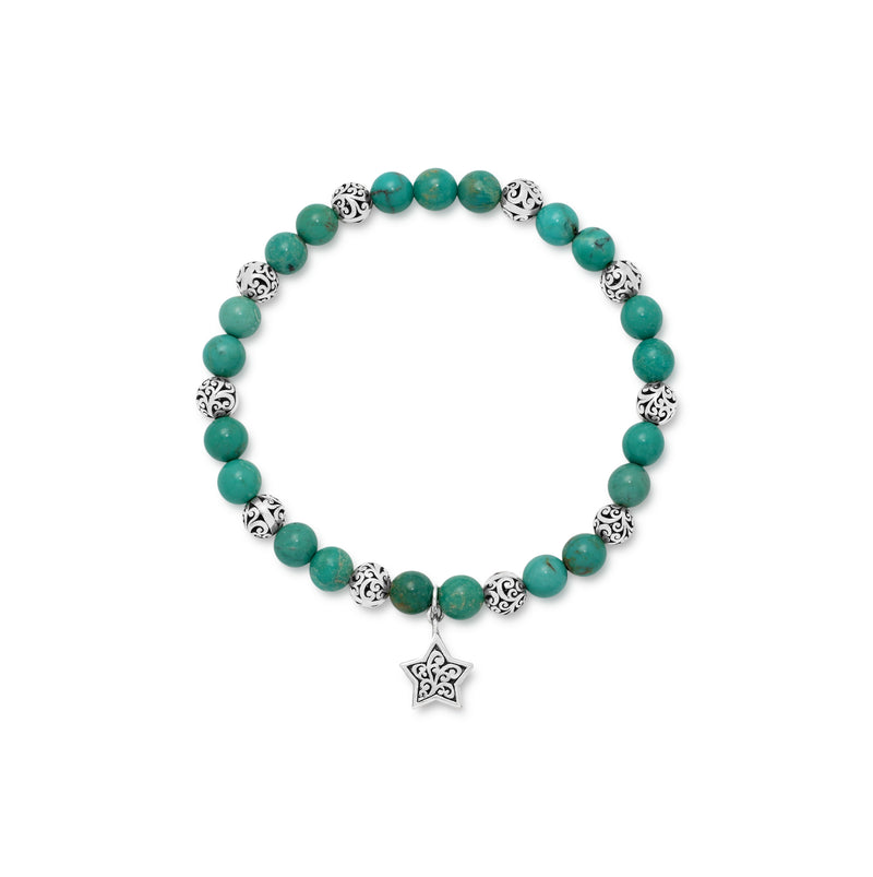 Blue Green Turquoise Bead (6mm) and Scroll Sterling Silver Bead with Signature Scroll Star Hang on Stretch Bracelet - Lois Hill Jewelry