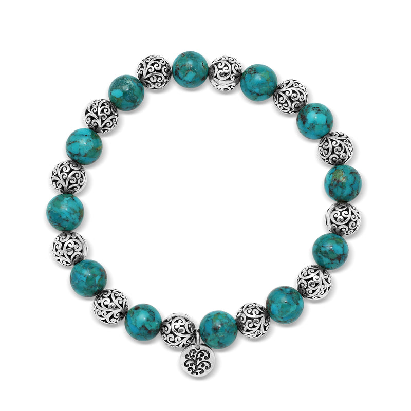 Blue Turquoise Bead (8mm) with Scroll Sterling Silver Bead Stretch Bracelet