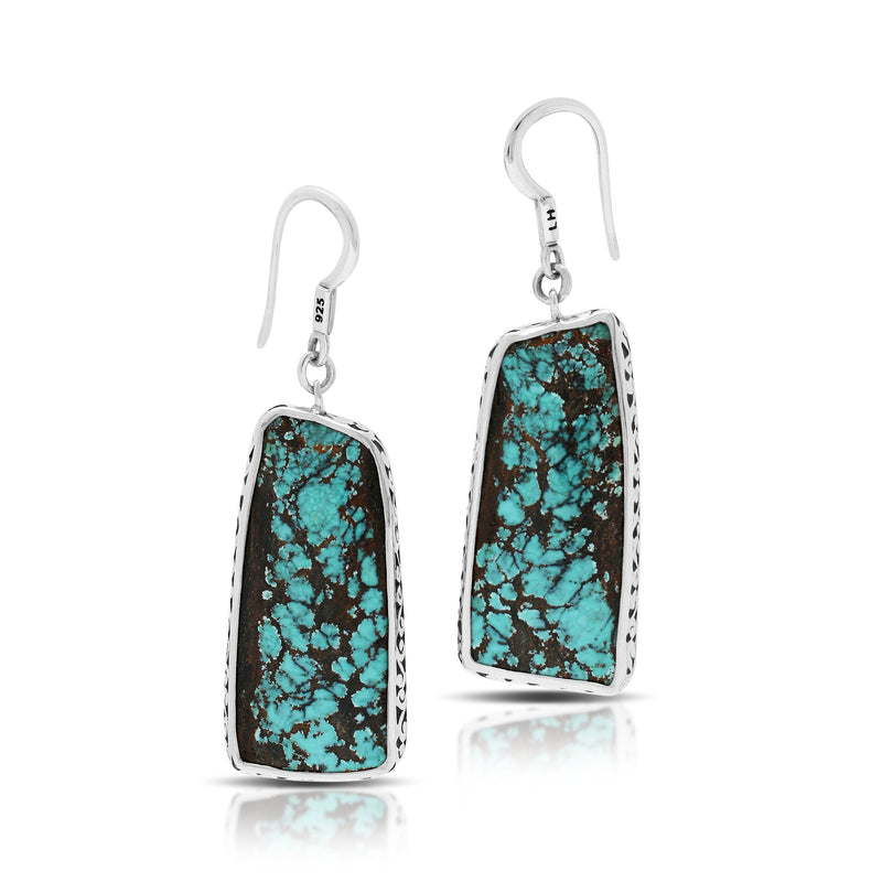 Rectangle Shaped Blue Black Turquoise Fishook Earrings with Hand Carved LH Scroll Rim. 16mm x 42mm