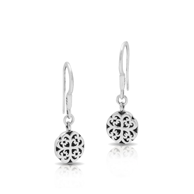 Classic Extra Small Round Geometric Scroll Fishook Earrings