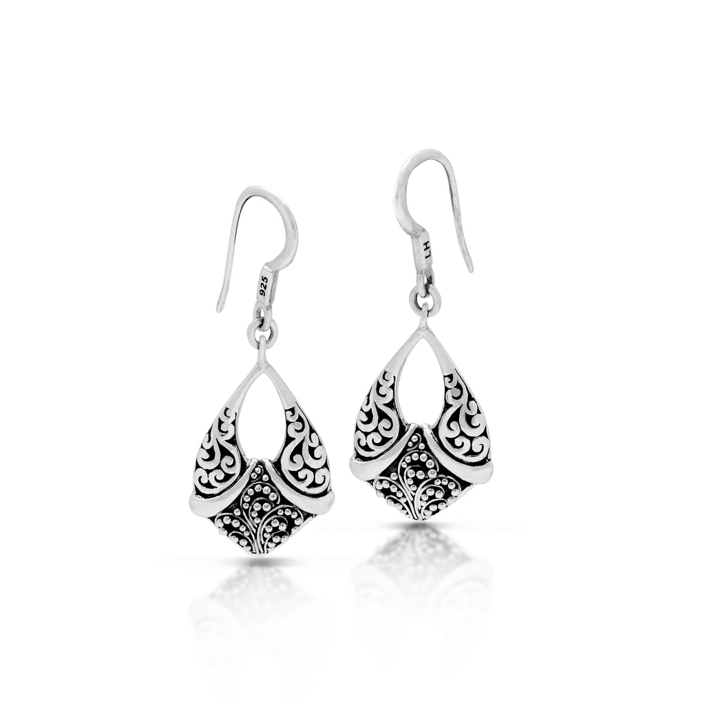 Open Classic Signature Scroll with Granulated Drop Fishook Earrings