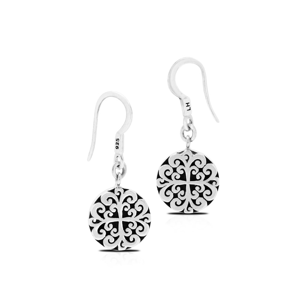 Round Classic Signature Geometric Scroll Fishook Earrings