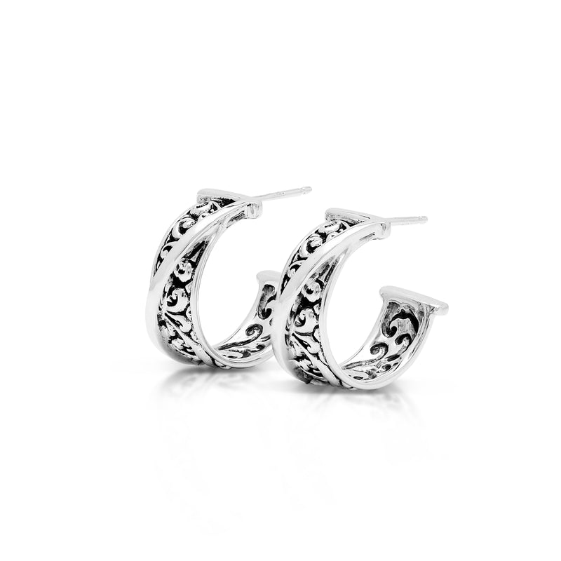 Classic Signature Scroll Hoop Earrings. 8mm W X diameter 11mm