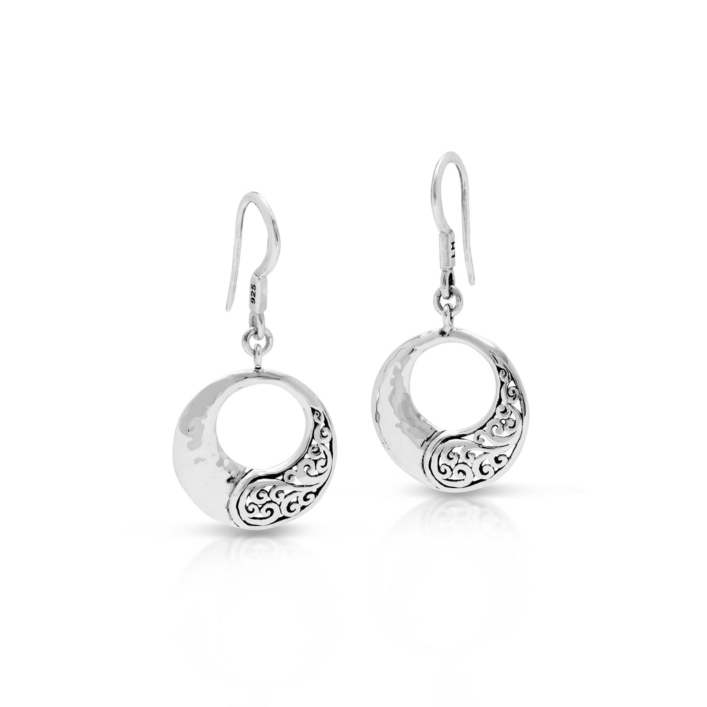 Classic Open Round Signature Scroll Half Fishook Earrings