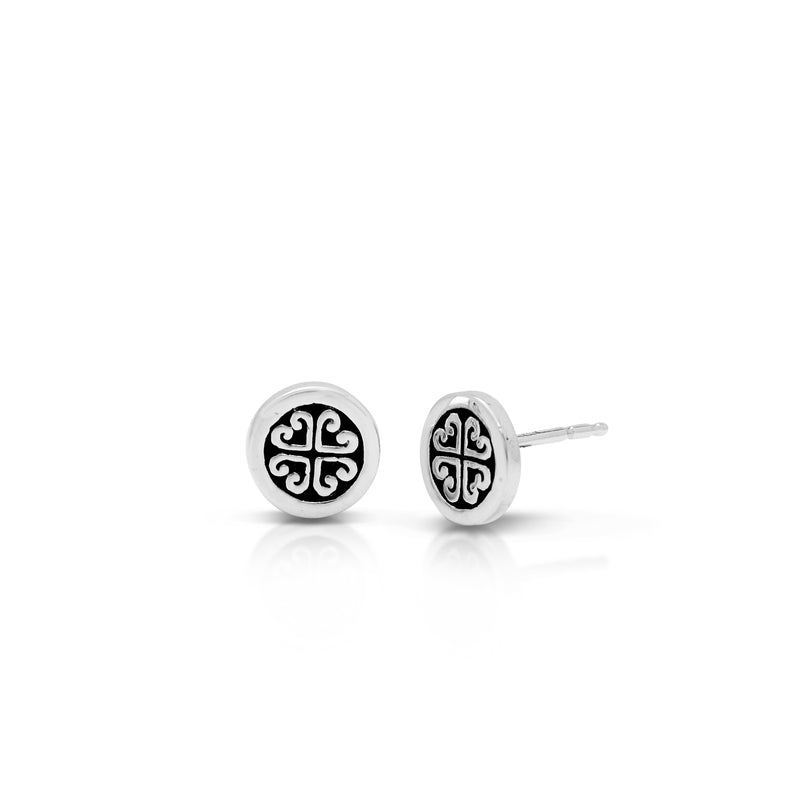 Small Classic Signature Scroll Geometric Stud Earrings. 8mm