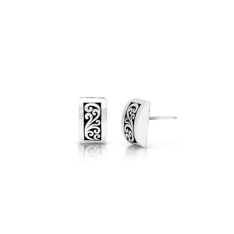 Small Classic Signature Scroll Curved Stud Earrings. 8mm X 12mm