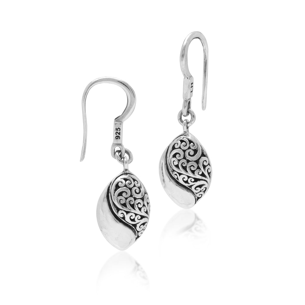 Classic Signature Scroll Marquise Yin-Yang Hammered Fishook Earrings