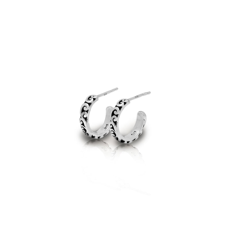 Small Classic Signature Scroll Hoop Earrings
