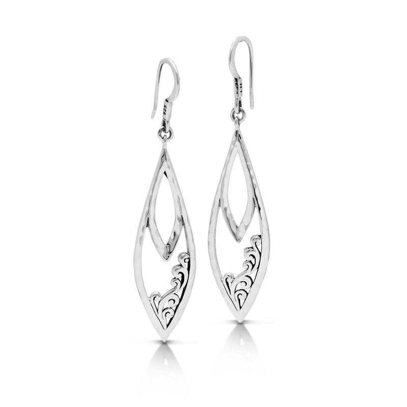 Classic Open Signature Scroll Marquise Fishook Earrings. 14mm X 48mm
