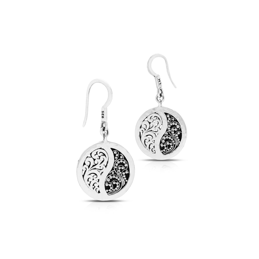 Round Classic Signature Scroll Yin-Yang Granulated Fishook Earrings